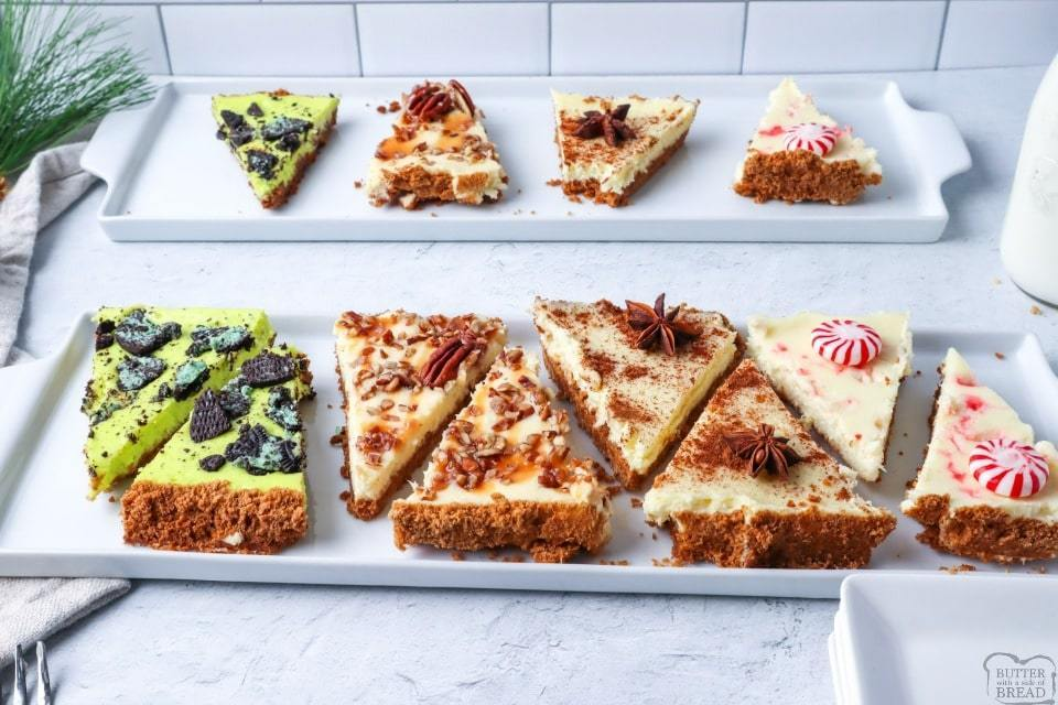 1 sheet pan and 4 delicious flavors of homemade cheesecake made conveniently on a sheet pan. Serve it up at your next holiday party and watch them disappear!