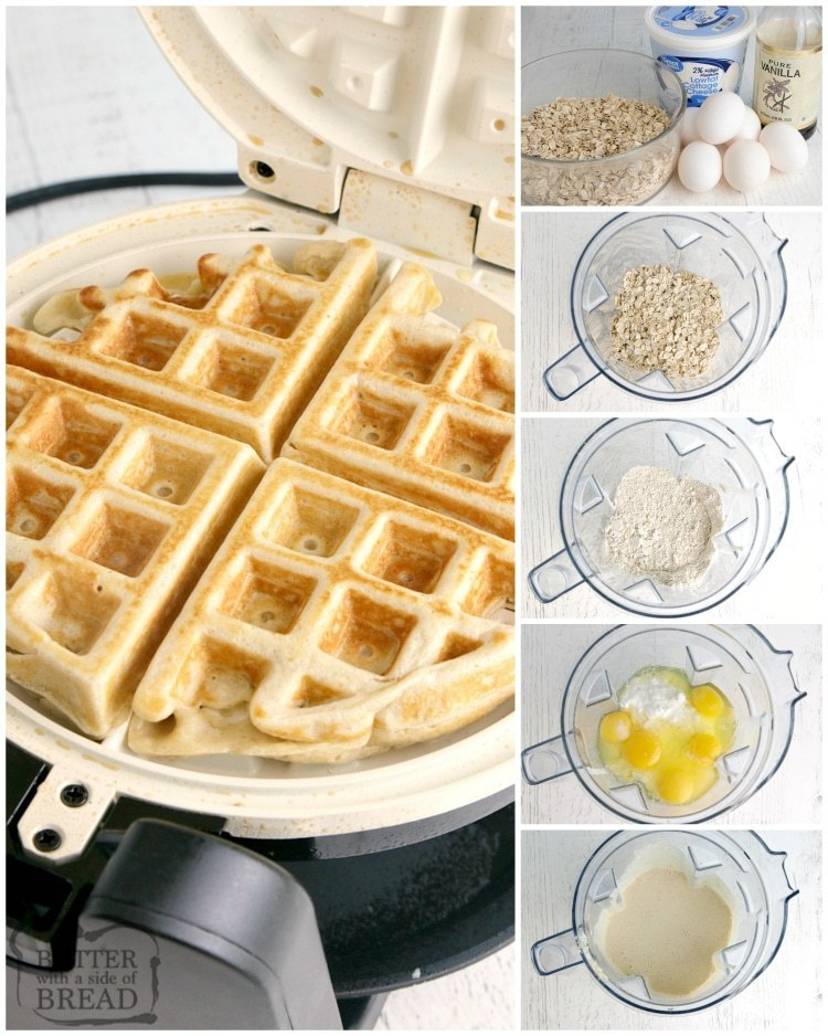 Step by step instructions on how to make high protein waffles