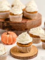 Pumpkin Spice Cupcakes with Cream Cheese Frosting are the perfect little treats for celebrating Fall! Easy recipe that starts with yellow cake mix and yields soft, moist perfectly spiced pumpkin cupcakes!