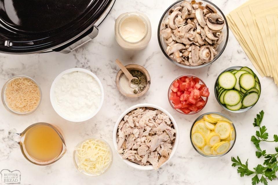 Crockpot Chicken Alfredo Lasagna recipe ingredients