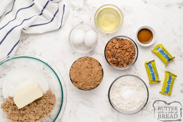 Ingredients in Peanut Butter Butterfinger cookies