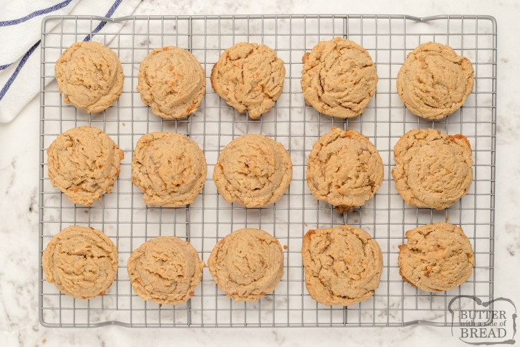 Peanut Butter Butterfinger cookies cooling on a wire rack