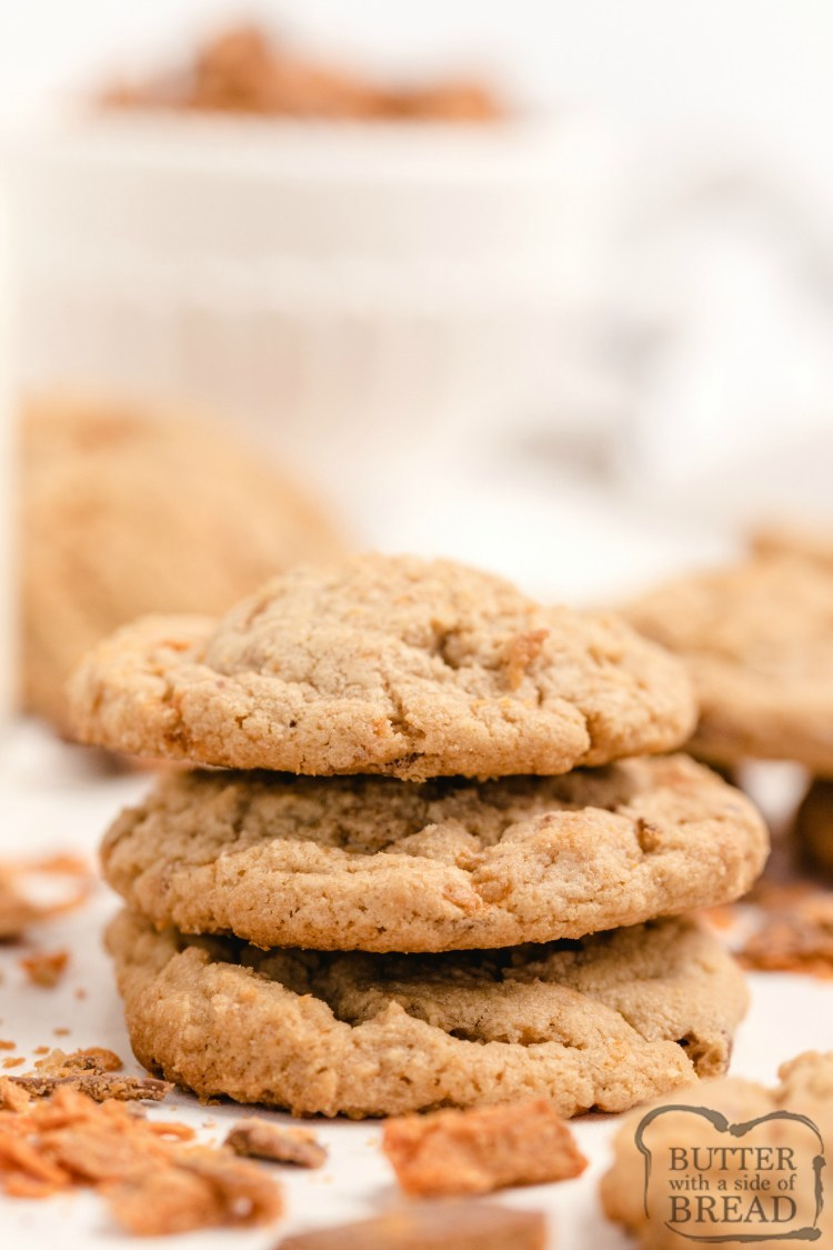 Peanut Butter cookies with Butterfinger candy bar pieces