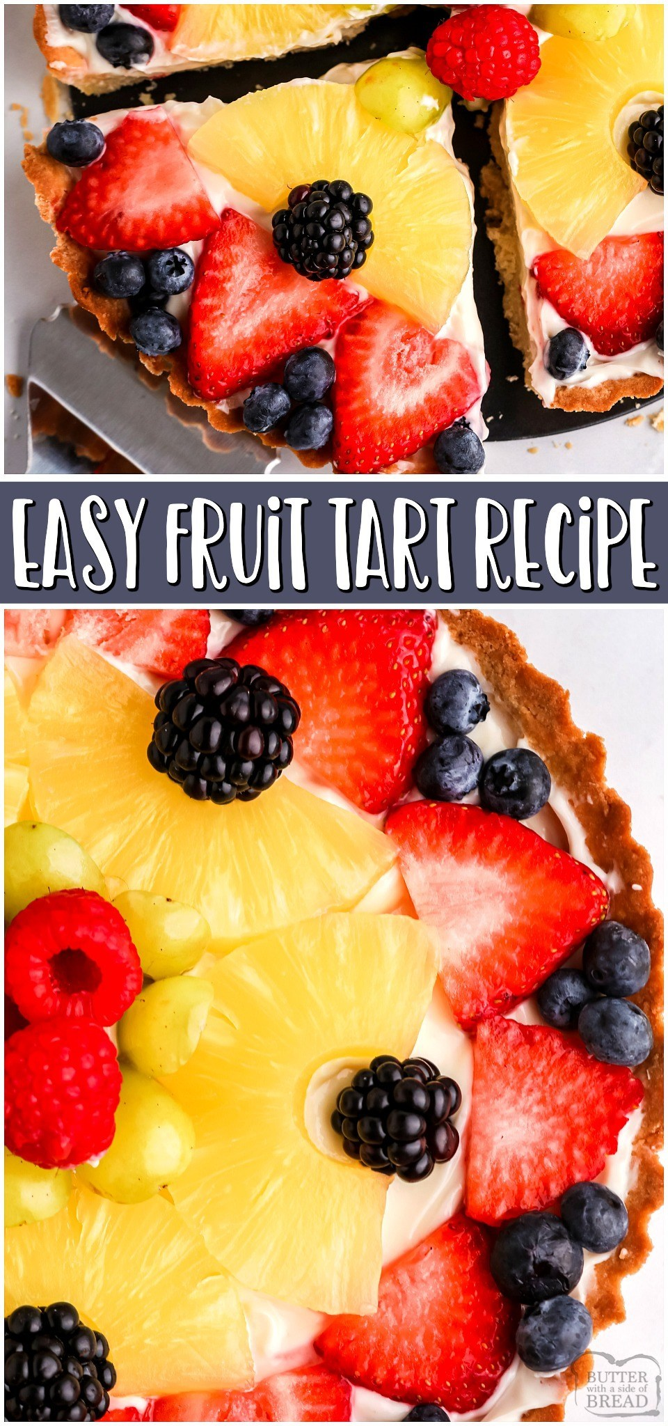 You're going to love it! Easy Fruit Tart made with a buttery crust, sweet cream cheese filling & topped with a variety of fresh fruits and berries! Fruit Tart Recipe easy enough for anyone to make!