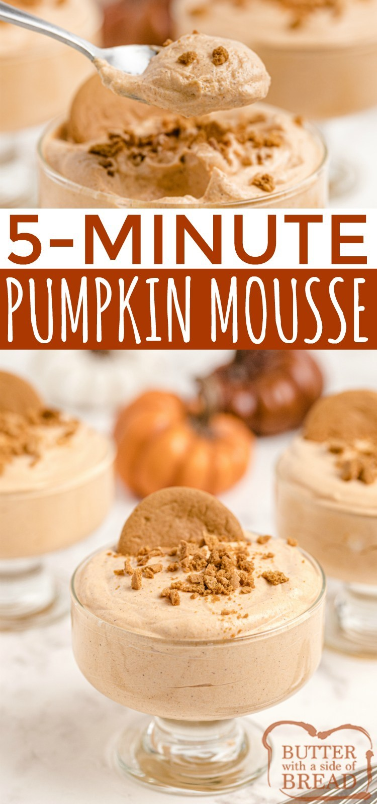 Easy Pumpkin Mousse is an easy no-bake dessert made in just a few minutes with 5 ingredients. Garnish this simple pumpkin fluff recipe with gingersnaps for a delicious fall treat!