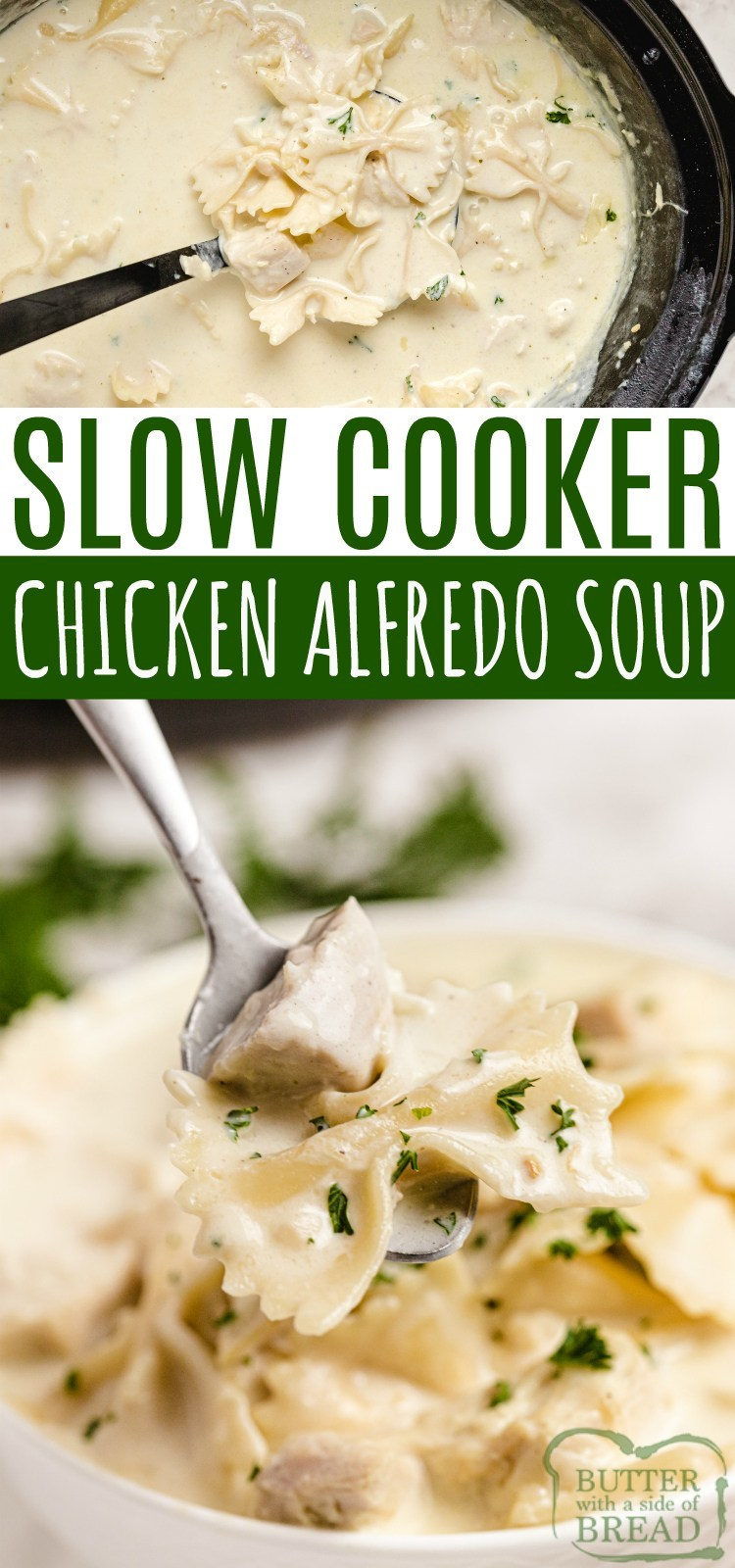Slow Cooker Chicken Alfredo Soup is smooth, creamy and is made with simple, fresh ingredients. Chicken, milk, cream, garlic and cheese come together to make a soup that tastes just like your favorite alfredo dish...in a delicious soup recipe.