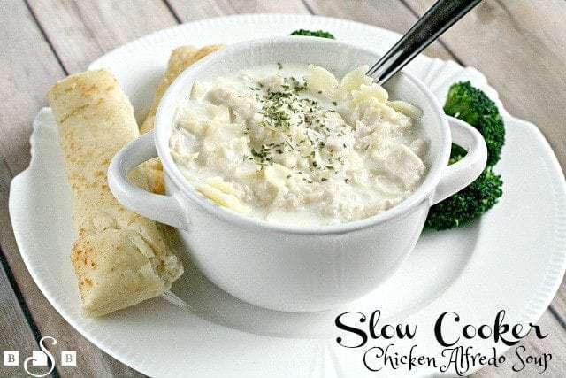 Slow Cooker Chicken Alfredo Soup - Butter With a Side of Bread