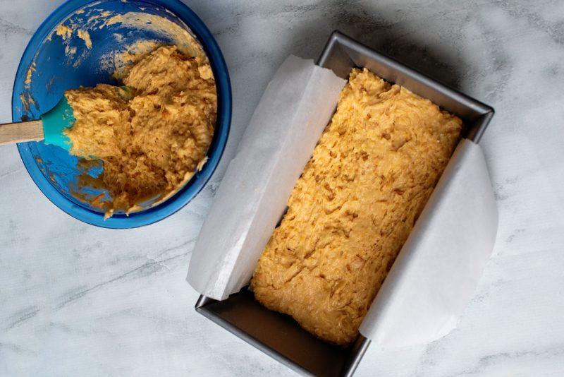 pour half of the sweet potato cake mix