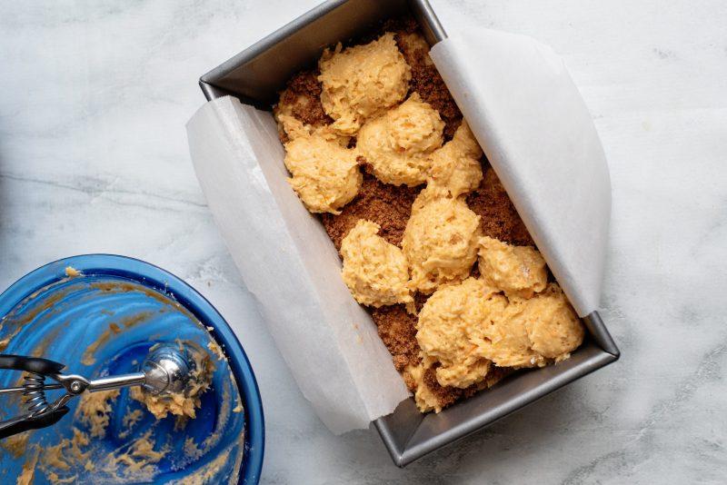 spoon globs sweet potato cake mix