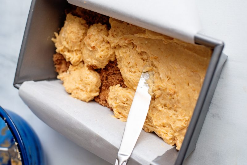spread sweet potato cake batter