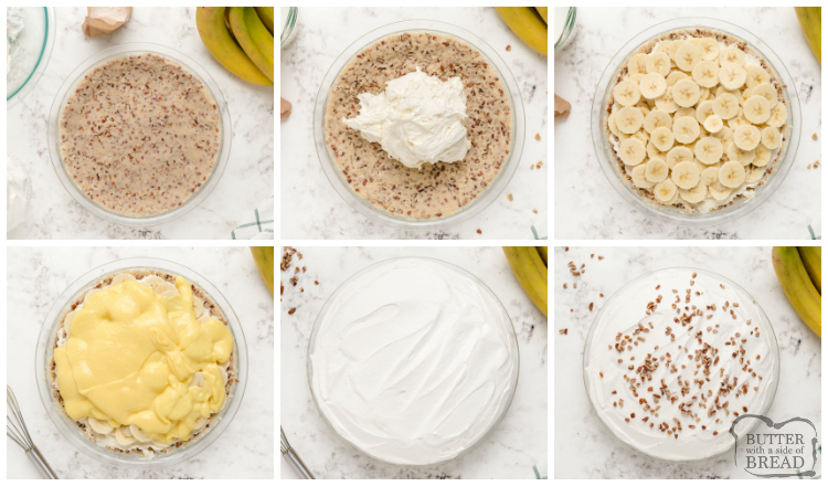 How to make banana pie with a pecan crust