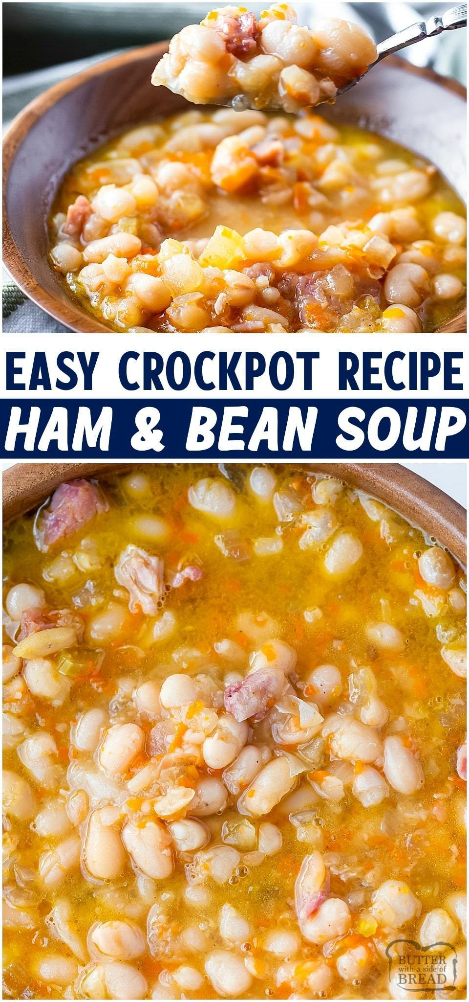 Crockpot ham and bean soup made easy with a ham bone, dried beans & vegetables. Simple & flavorful slow cooker recipe that uses leftover ham and pantry ingredients.