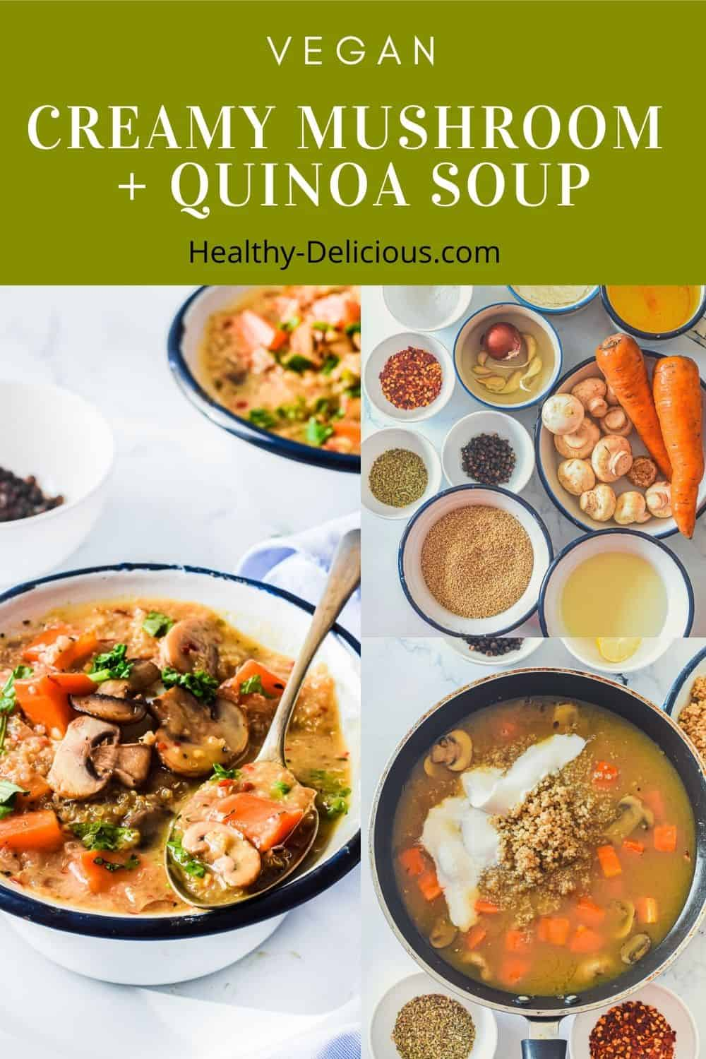 Creamy Mushroom + Quinoa Soup is a cozy winter meal. Coconut milk adds creaminess while keeping this delicious vegan mushroom soup recipe dairy free. via @HealthyDelish