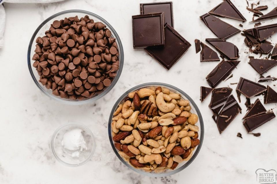 Easy Chocolate Nut Clusters ingredients