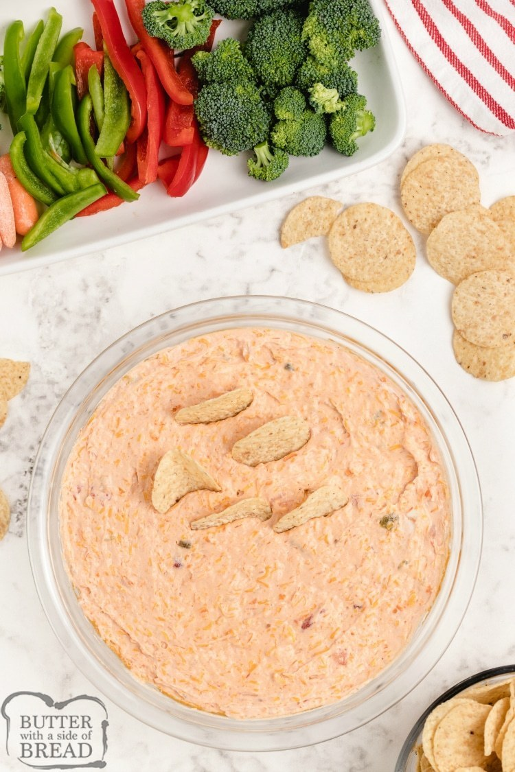 Cream Cheese Salsa Dip recipe served with veggies and chips