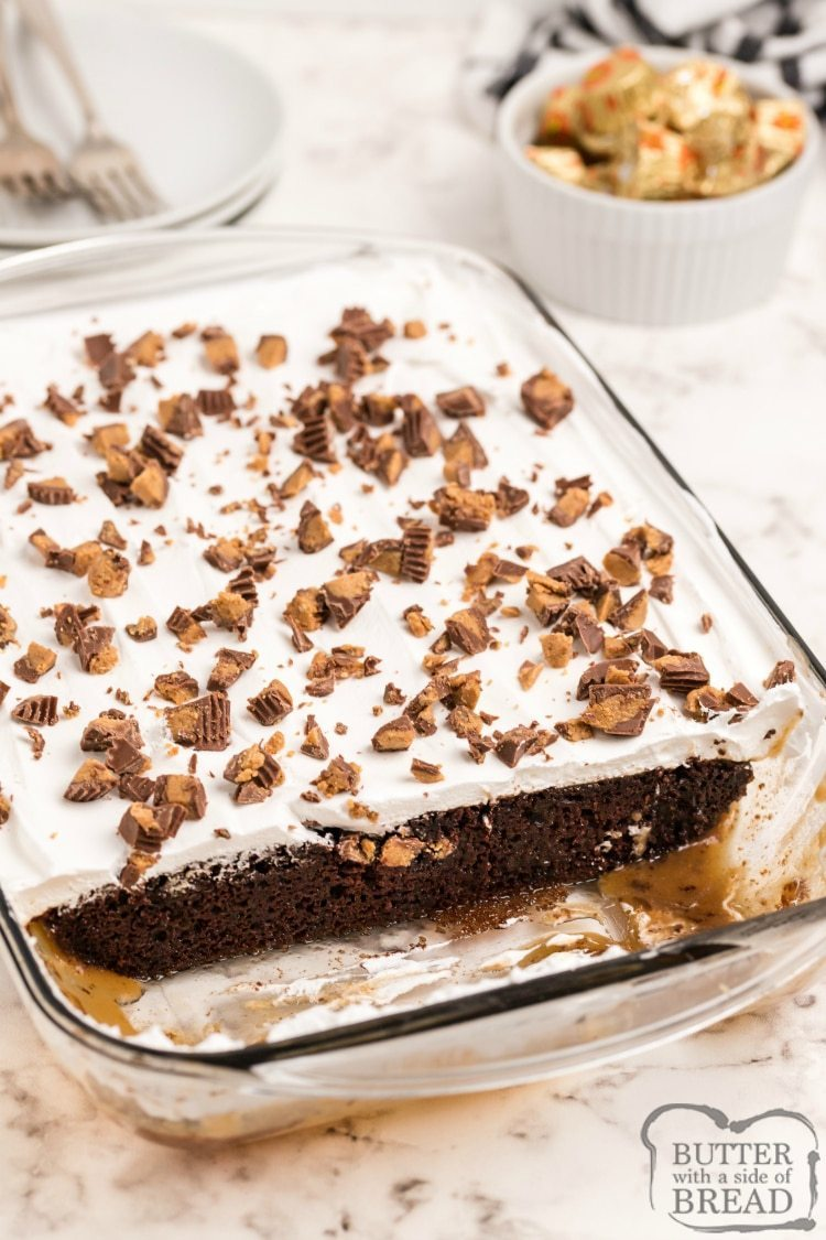 Chocolate Poke cake with caramel sauce and peanut butter cups