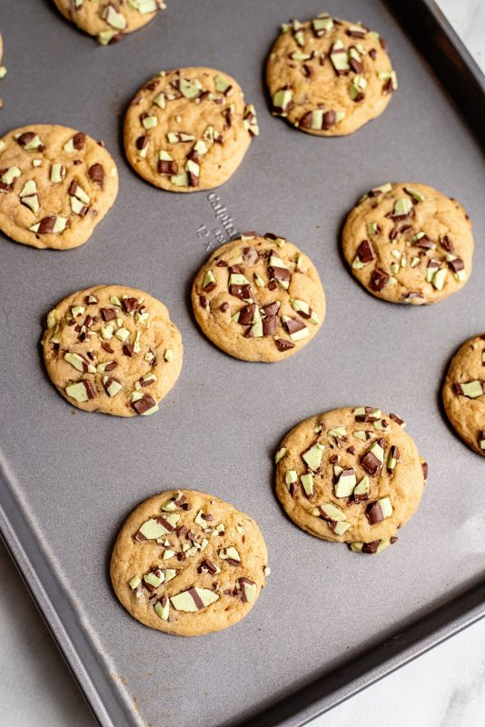 baked for 10-12 mins Mint chocolate chip cookies