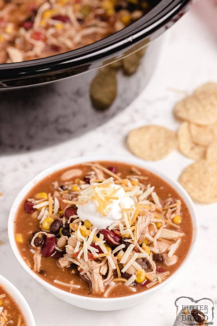 Easy slow cooker chicken soup recipe with taco seasoning, beans, tomatoes and onions