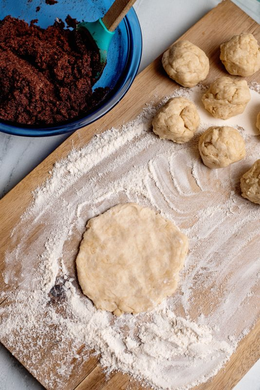 chocolate fried pies rolling the dough