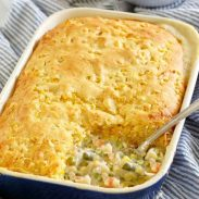 chicken pot pie with cornbread topping