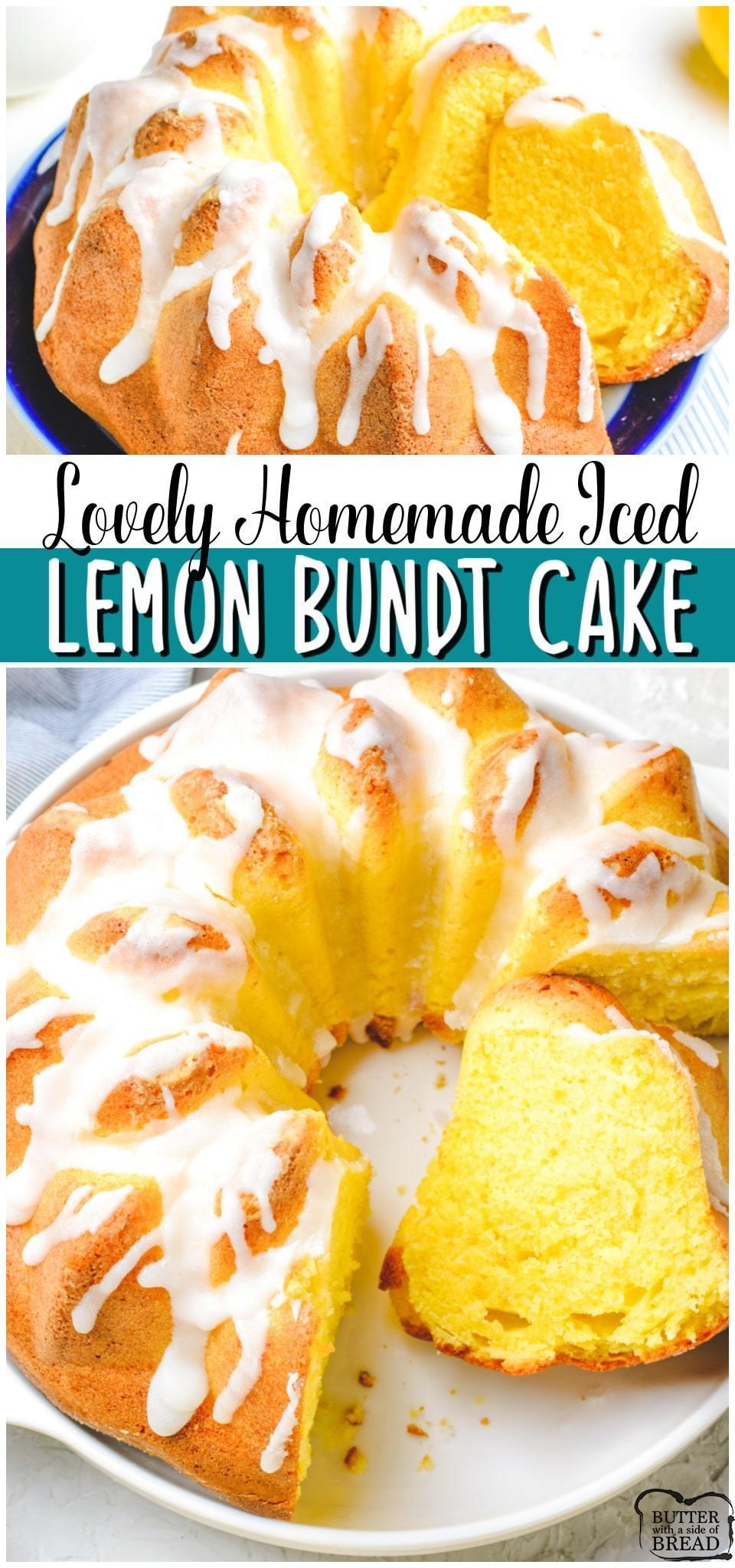 Iced lemon bundt cake made with classic ingredients with bright, fresh lemon flavor! Vanilla cake recipe with lemon juice and lemon zest for a delicious Springtime dessert.