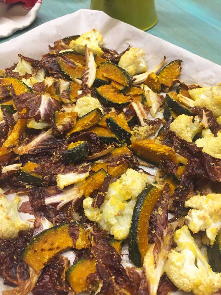 Side dish of baked winter vegetables