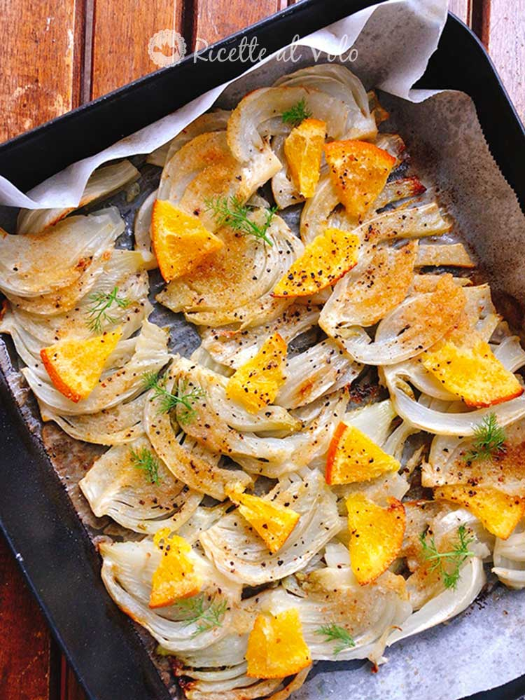 Baked fennel flavored with orange