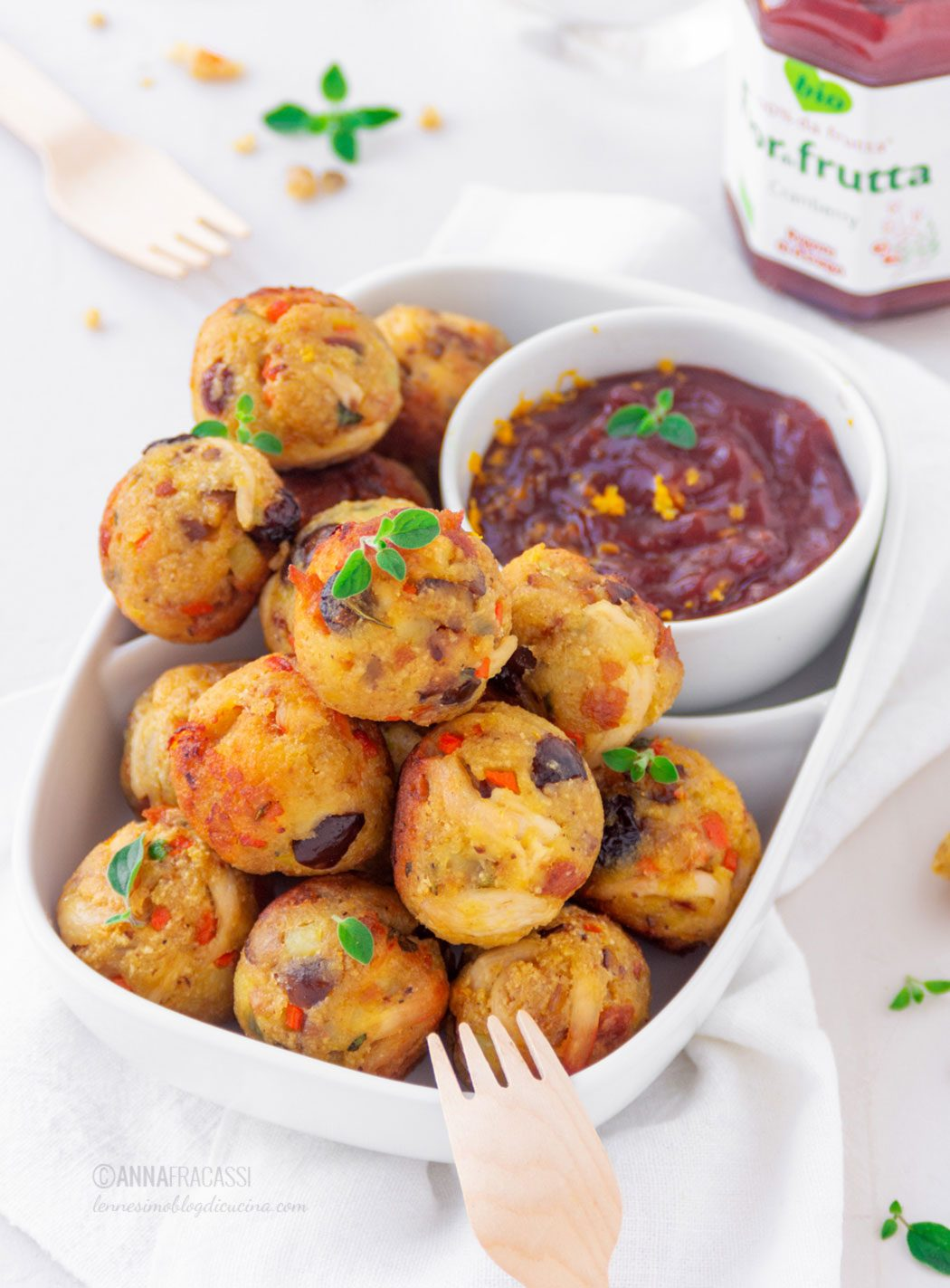 Thanksgiving turkey croquettes and cranberry sauce