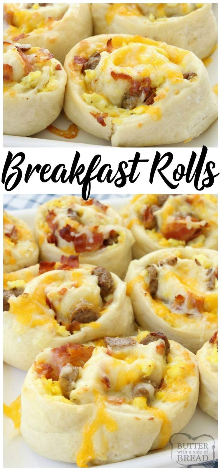 Breakfast Rolls filled with scrambled eggs, bacon, sausage & cheese then rolled in homemade dough and baked to perfection. These rolls are perfect for breakfast, brunch or dinner!