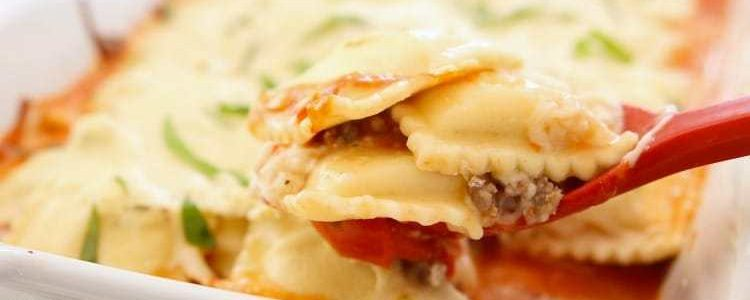 CHEESY BAKED RAVIOLI LASAGNA - Butter with a Side of Bread