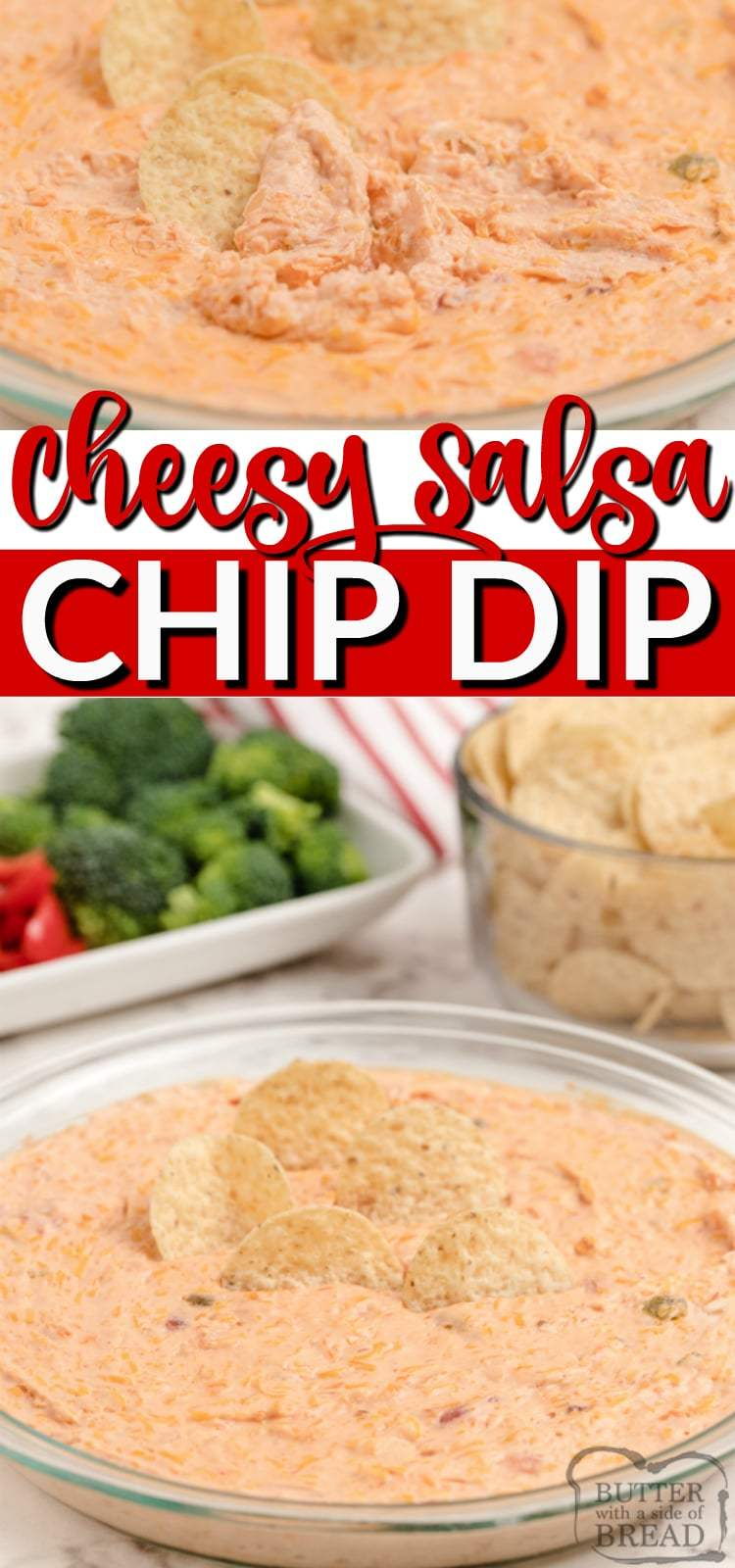 Cheesy Salsa Dip made with cream cheese, salsa, sour cream and cheddar cheese. This cream cheese salsa dip is baked and served warm with chips for an easy appetizer everyone loves!