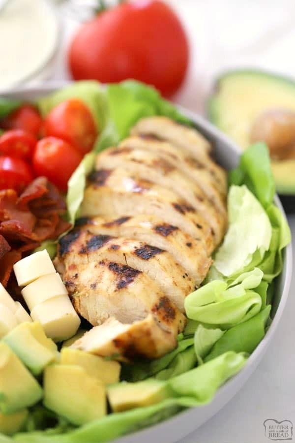the best marinated chicken on butterhead lettuce