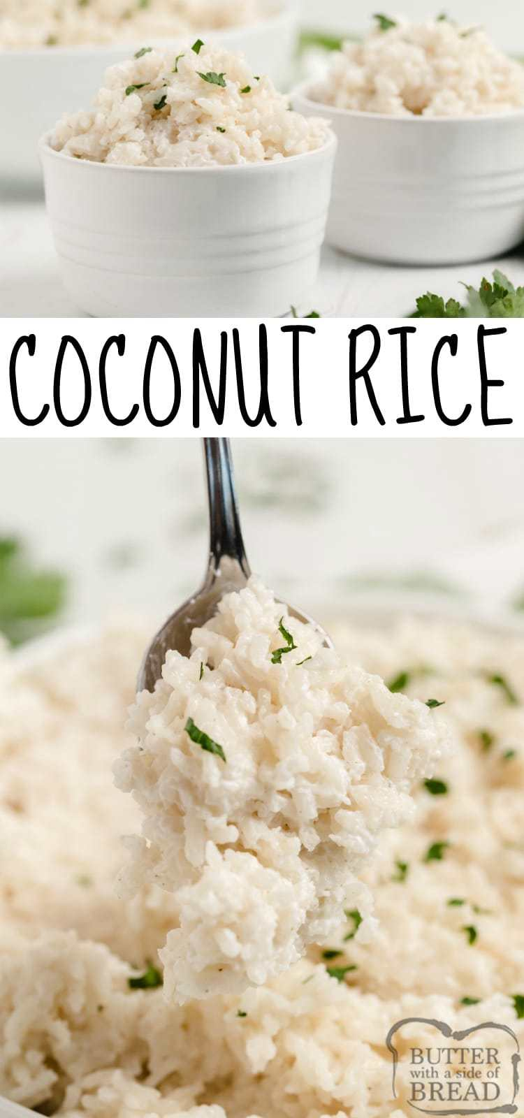 Coconut Rice is a simple side dish recipe that is slightly sweet with a subtle hint of coconut. This delicious rice recipe is easily made on the stovetop with coconut milk and a little bit of sugar.