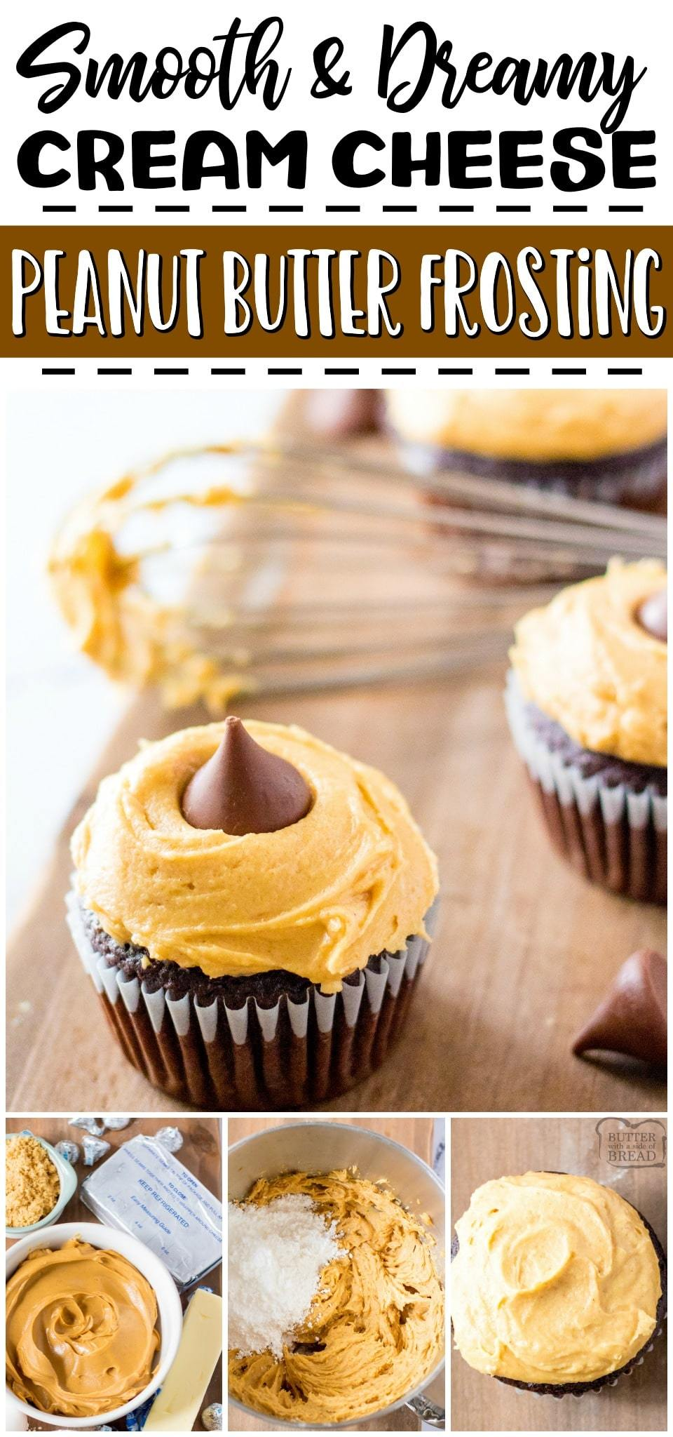 Peanut butter cream cheese frosting is a salty sweet, flavorful frosting recipe that you're going to love! Cream Cheese & peanut butter combine for a deliciously fluffy, smooth peanut butter frosting that is perfect on cupcakes, cakes, cookies & more! #peanutbutter #frosting #creamcheese #dessert #buttercream #easyrecipe from BUTTER WITH A SIDE OF BREAD