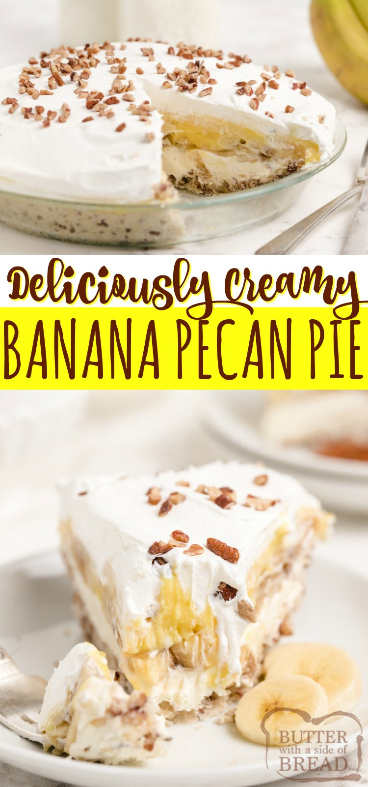 Creamy Banana Pecan Pie combines two classic pies into one delicious dessert! This simple banana pie recipe is made in a pecan crust, with fresh bananas sandwiched between two creamy layers.