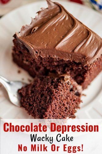 Chocolate Depression Wacky Cake - No Milk Or Eggs!
