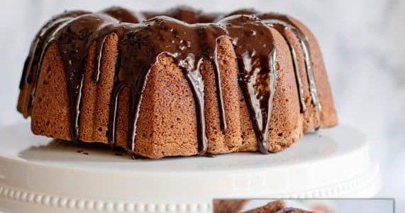 Chocolate Pound Cake with Fudge Glaze