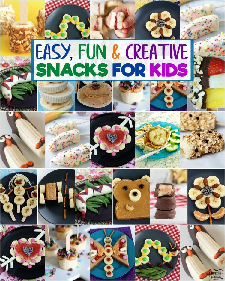 Cute & creative snacks for kids with bananas! Fun, healthy banana recipe snack ideas perfect for toddlers & kid's lunches.