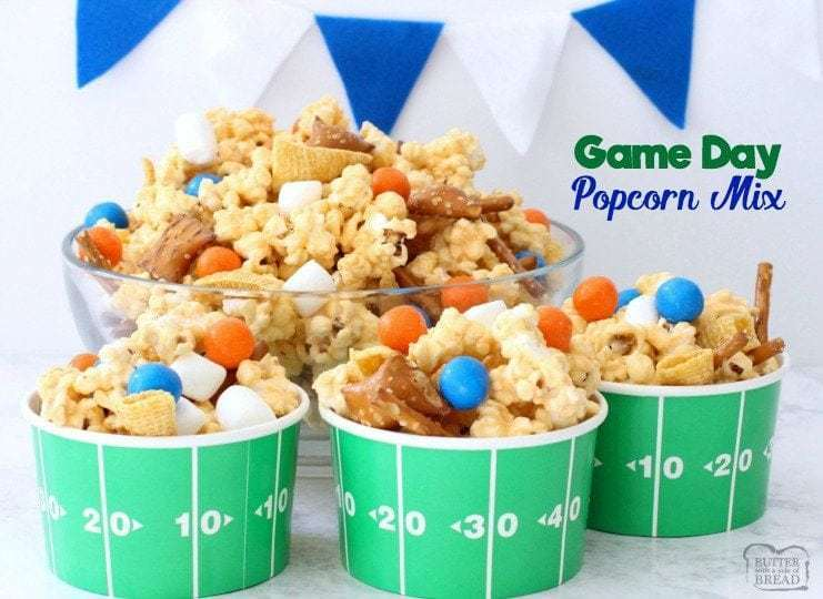 Gameday Popcorn Mix is sweet, salty, and perfect for your crowd of excited sports fans (especially when you easily customize it to your team's colors)!