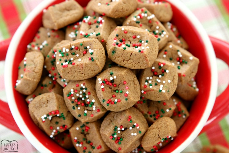 The simplest gingerbread cookie recipe ever! Chewy, bite-sized gingerbread cookies that take a fraction of the time to make! They