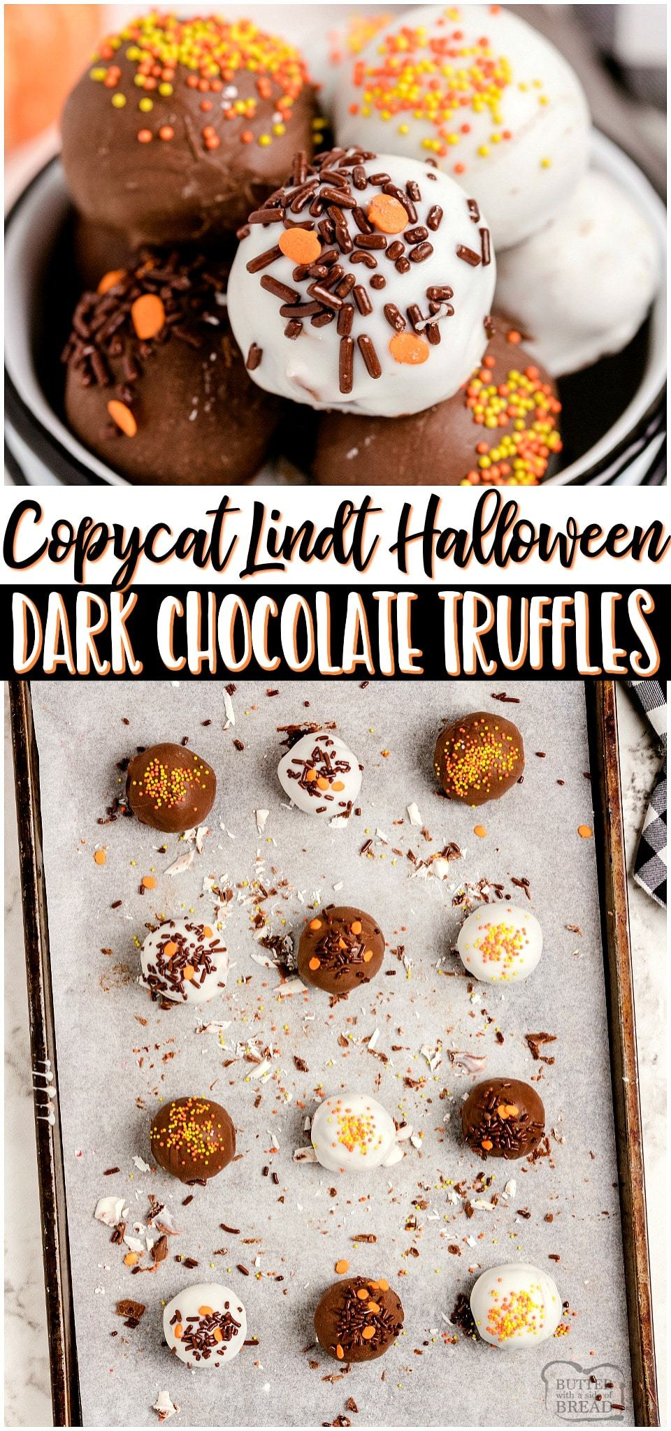Homemade Halloween Lindt Dark Chocolate Truffles made with just 5 ingredients and SO amazing! Chocolate chips, heavy cream and butter combine for a rich & smooth luscious chocolate truffle filling that rivals Lindt's! Chocolate lovers must try these festive Halloween Truffles! #Lindt #chocolate #truffles #candy #darkchocolate #Halloween #easyrecipe from BUTTER WITH A SIDE OF BREAD