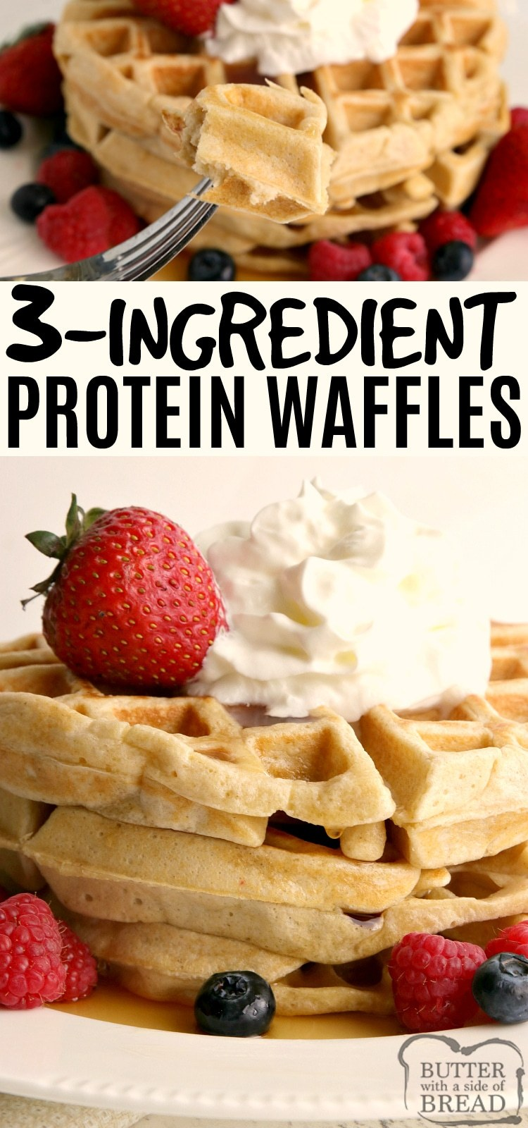 High Protein Waffle recipe made with eggs, oats and cottage cheese. Delicious protein waffles with only 3 simple ingredients! Easy breakfast recipe that is high in protein and gluten-free too, no protein powder needed!