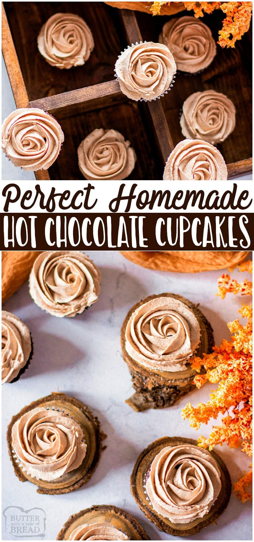 Hot chocolate cupcakes are soft chocolate cupcakes topped with hot chocolate buttercream for an indulgent & delicious chocolatey dessert. #chocolate #hotchocolate #cupcakes #cake #dessert #baking #recipe from BUTTER WITH A SIDE OF BREAD