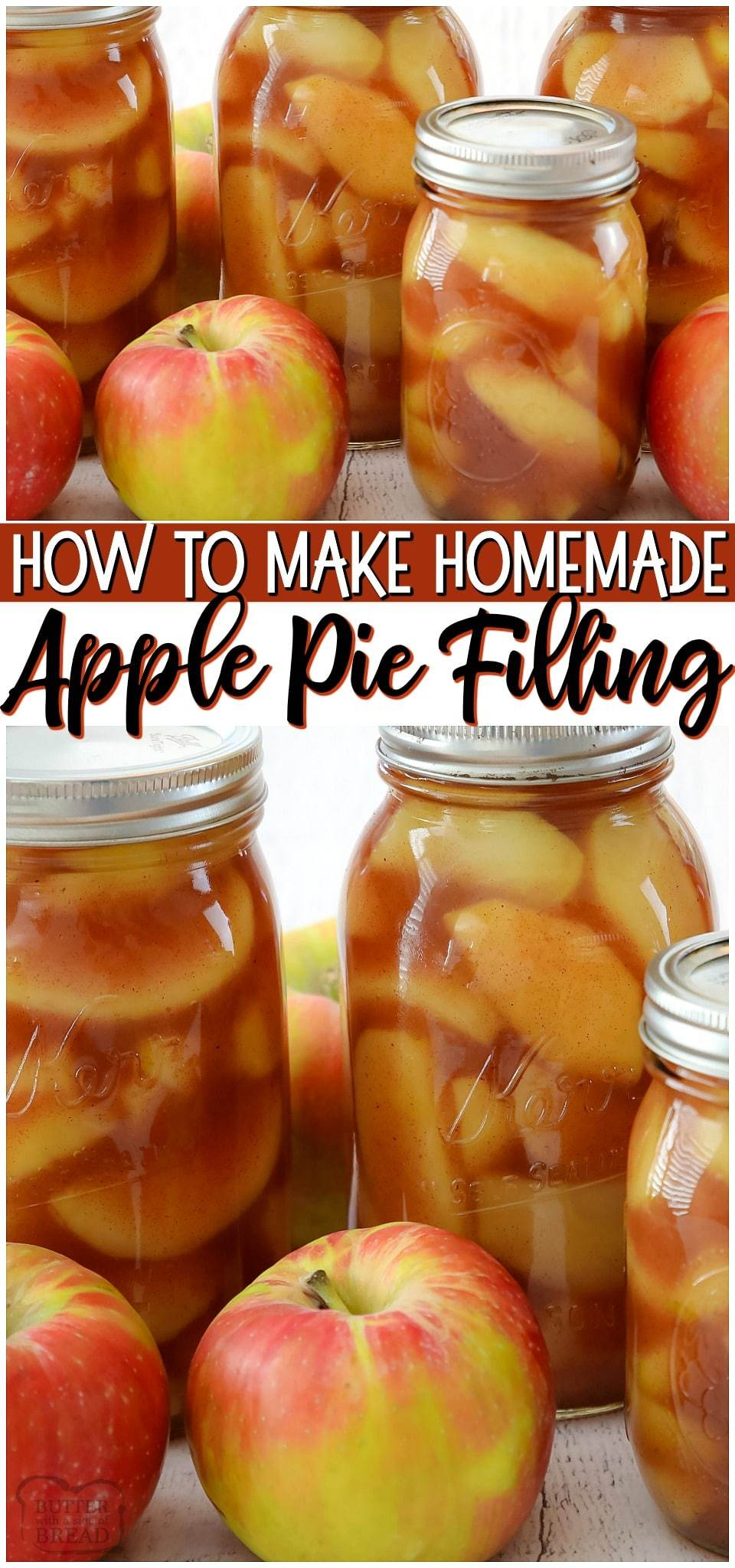 Learn how to make apple pie filling with this simple method & recipe! This is a low sugar apple pie filling so that the flavor of the apples really shine. Apple Pie Filling can be used in so many desserts and is a great way to use fresh apples when they're in season. #apples #applepie #applepiefilling #homemade #easyrecipe from BUTTER WITH A SIDE OF BREAD