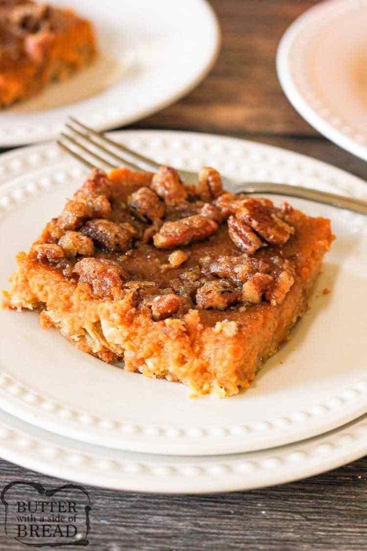 pumpkin pie bars with pecans
