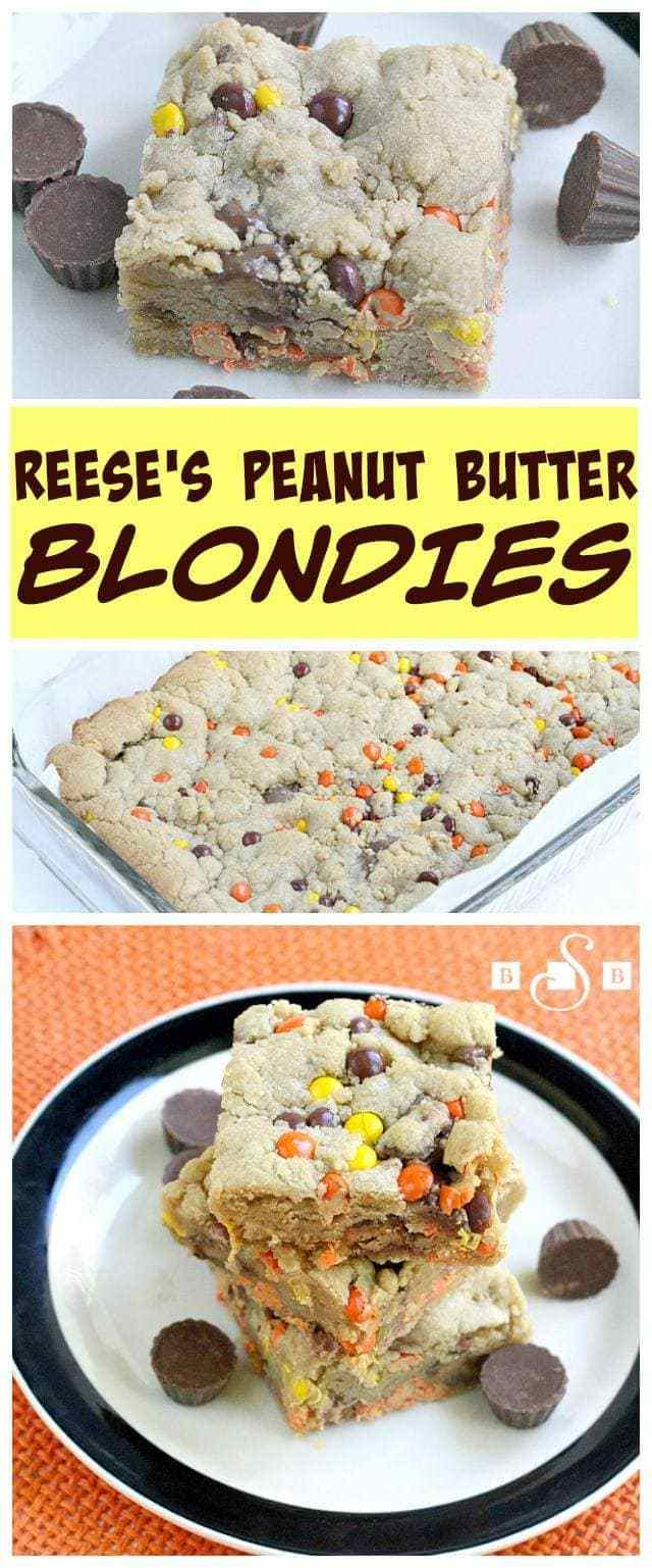 My husband's favorite candy bars are Reese's Peanut Butter Cups, so I'm always looking for fun ways to use them in desserts. Reese's Pieces are just the perfect colors for fall, so I whipped up these blondies to celebrate the fabulous fall weather we've been having lately! These blondies are so soft and delicious - they definitely didn't last very long at my house!