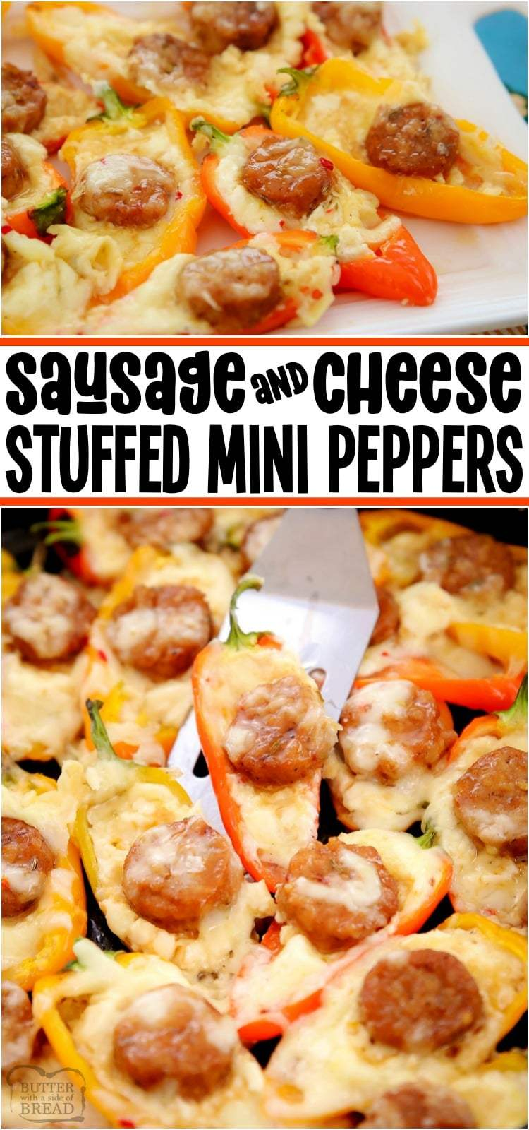 Stuffed Mini Peppers filled with Italian Sausage, cream cheese and Pepper Jack for a hearty, flavorful appetizer everyone loves! #peppers #minipeppers #stuffedpepper #ItalianSausage #Cheese #appetizer #recipe from BUTTER WITH A SIDE OF BREAD