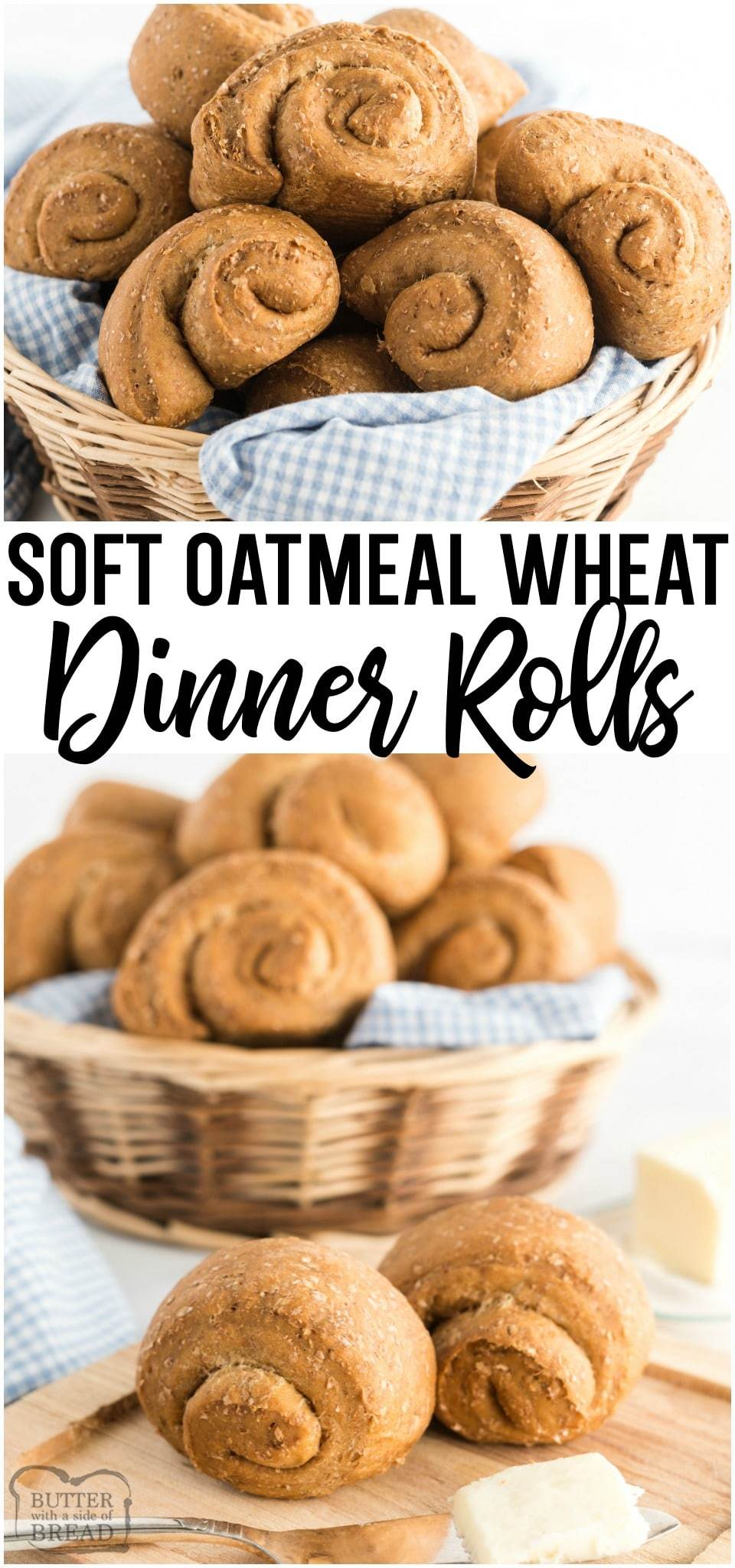 Soft Wheat Dinner Rolls made with whole wheat flour, yeast, oats and molasses for a homemade roll with fantastic taste and texture! Family favorite #wheat #dinner #roll #recipe! #baking #bread #homemade #dinnerroll #breadrecipe from BUTTER WITH A SIDE OF BREAD