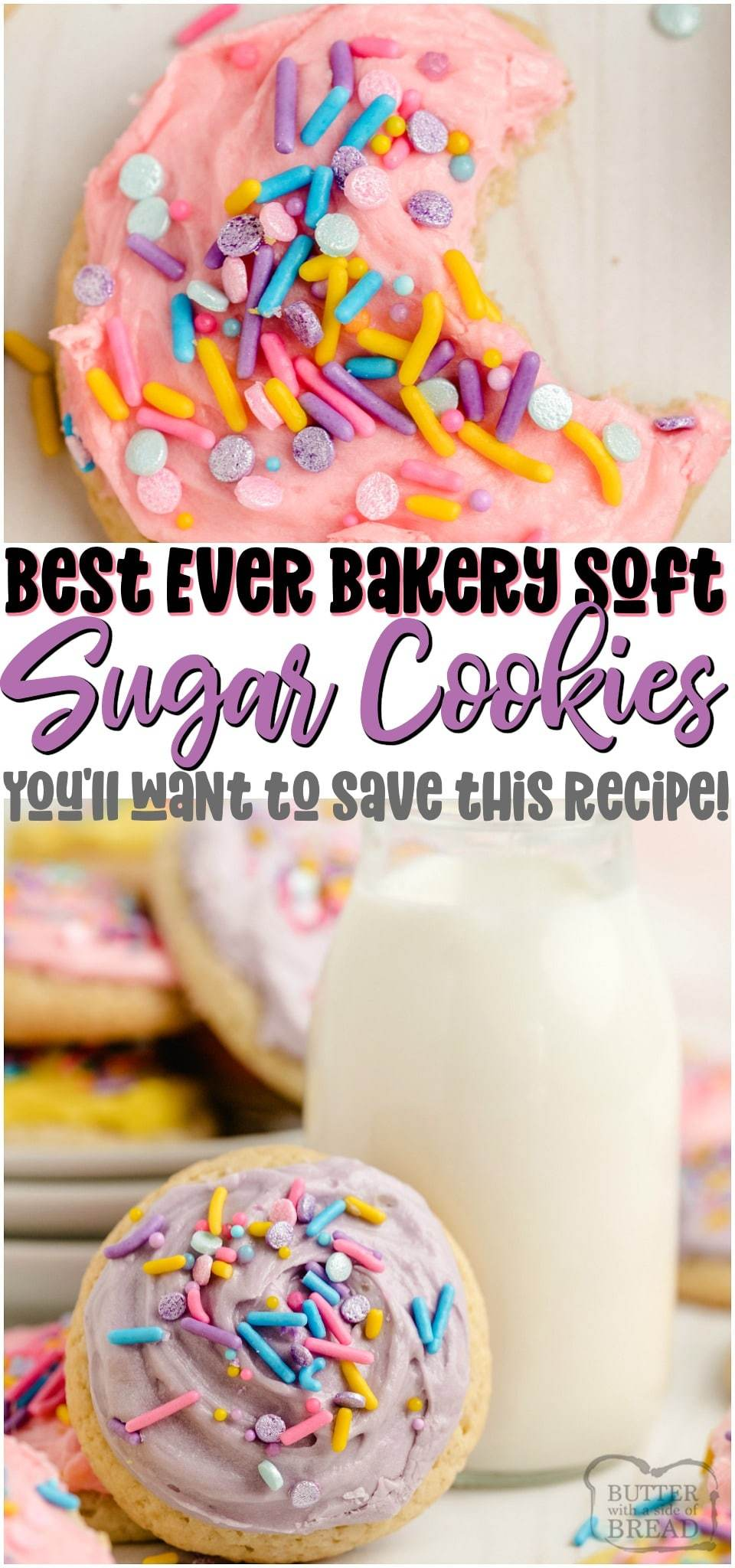 Super Soft Sugar Cookies made with butter, sugar, flour & sour cream for great flavor and bakery soft texture! Softest sugar cookies you've ever had- & they decorate beautifully! Save this recipe! #sugarcookies #cookies #softcookies #holidaybaking #cutoutcookies #baking #dessert #recipe from BUTTER WITH A SIDE OF BREAD