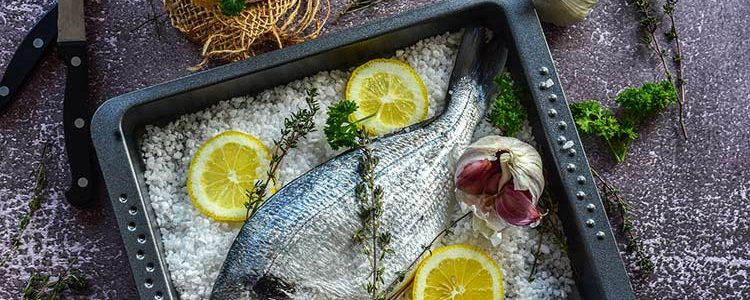 Salt bream cooked in the oven